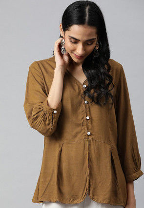 Solid Color Viscose Rayon Top in Light Brown