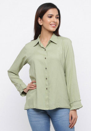 Solid Color Viscose Rayon Top in Pastel Green