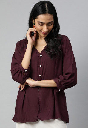 Solid Color Viscose Rayon Top in Wine
