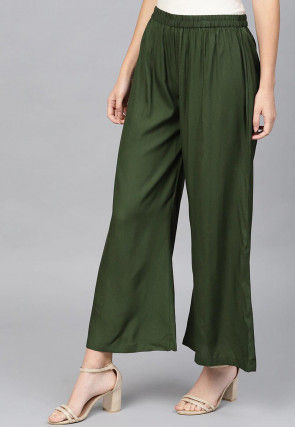 Solid Color Viscose Rayon Wide Legged Palazzo in Dark Olive Green