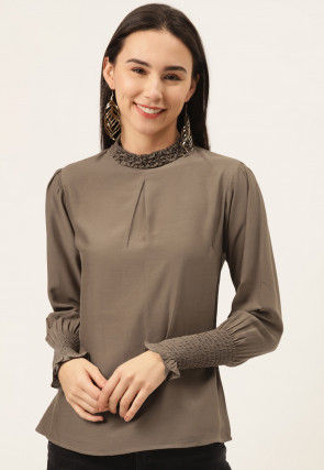 Solid Color Viscose Top in Fawn