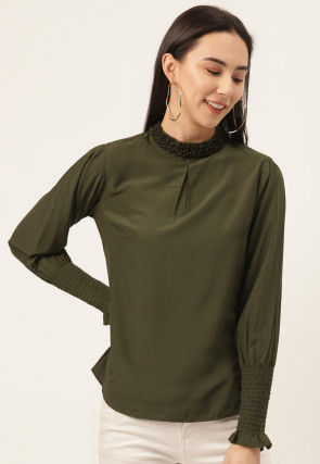 Solid Color Viscose Top in Olive Green