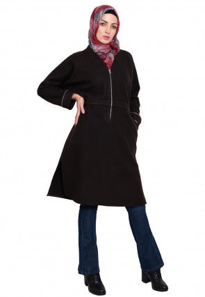 Solid Color Woolen Tunic in Dark Brown