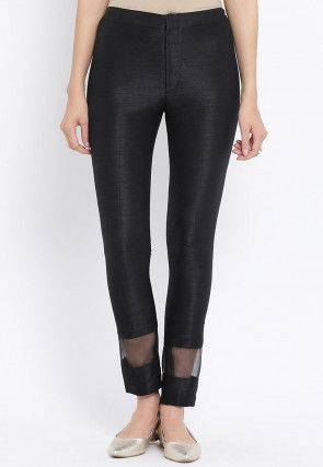 Solid Dupion Silk  Straight Pant in Black