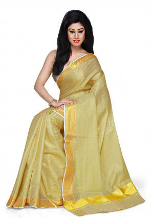 Kerala Kasavu Pure Cotton Saree in Beige