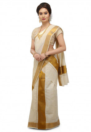 Cotton Settu Mundu in Off White