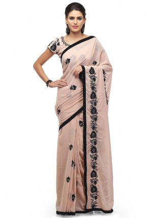Embroidered Georgette Saree in Light Peach