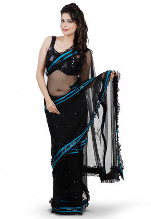 Patch Border Net Saree in Black