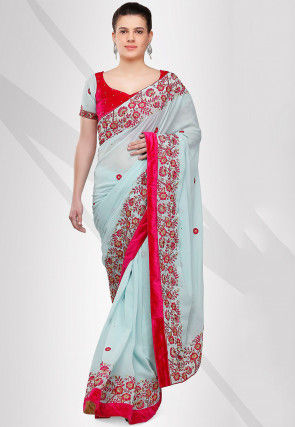 Embroidered Georgette Saree in Sky Blue