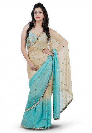 Embroidered Viscose Saree in Beige and Turquoise