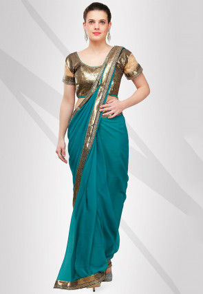 Plain Viscose Georgette Saree in Teal Blue