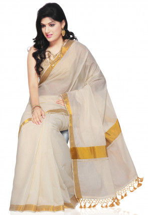 Woven Cotton Kerala Kasavu Saree in Off White