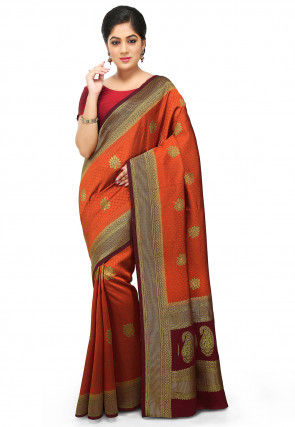 Woven Bangalore Silk Saree in Rust