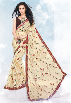 Printed Georgette Saree in Beige