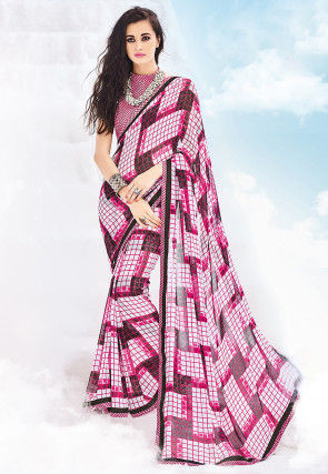 Printed Georgette Saree in Multi