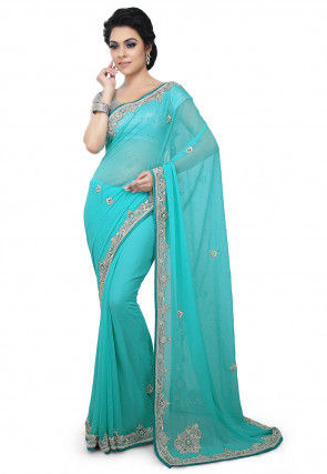 Hand Embroidered Georgette Saree in Sky Blue