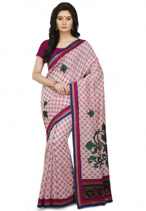 Embroidered Cotton Silk Jacquard Saree in Off White and Pink