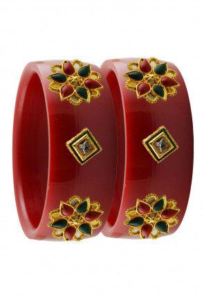 Stone Studded Bangle Pair