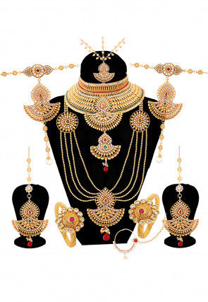 Bridal jewellery shop indian wedding jewelry for brides online stone studded bridal set junglespirit Image collections