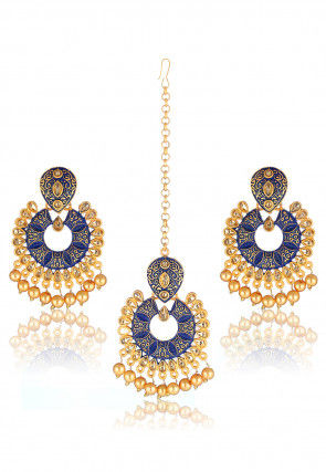 Stone Studded Chandbali Earrings Set