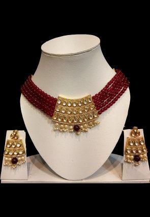 Stone Studded Choker Necklace Set