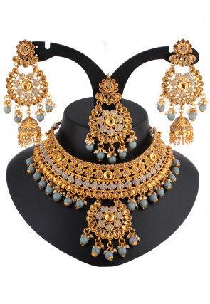 Stone Studded Enamel Filled Choker Necklace Set