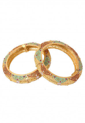 Stone Studded Enamel Filled Pair of Openable Bangles