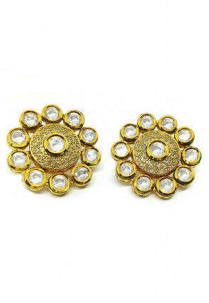 Stone Studded Enamel Filled Stud Earrings