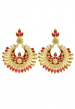 Stone Studded Enamelled Chandbali Earrings
