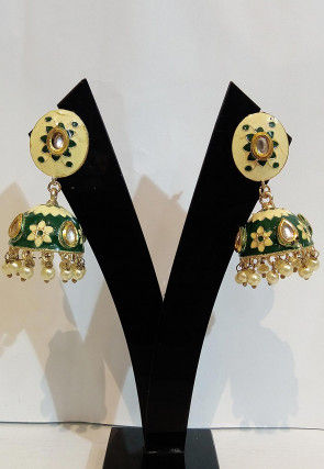 Stone Studded Enamelled Jhumka Style Earrings