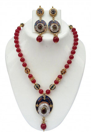 Stone Studded Enamelled Necklace Set