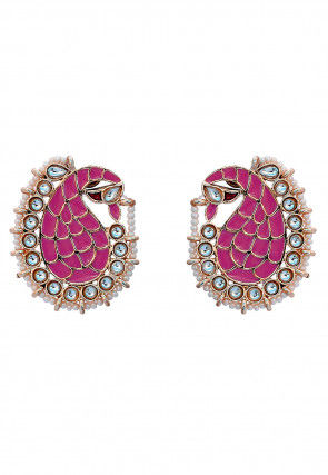Stone Studded Enamelled Peacock Style Earrings