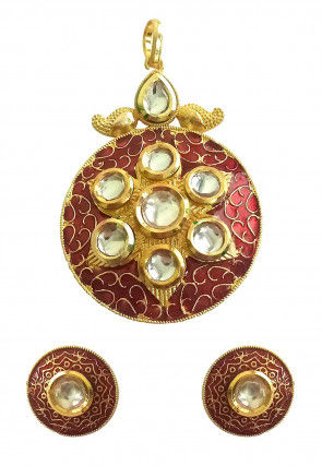 Stone Studded Enamelled Pendant Set