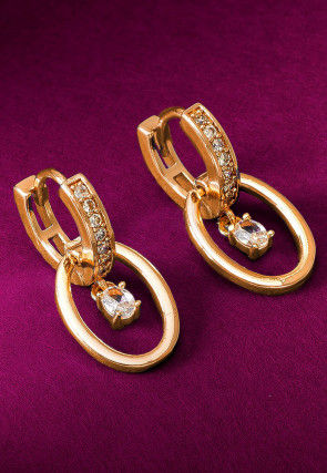 Stone Studded Hoop Earrings