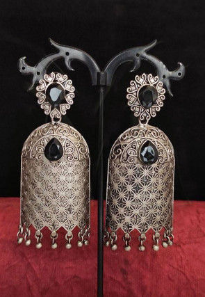 Stone Studded Jhumka Style Oxidised Earrings