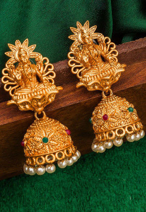 Stone Studded Jhumka Style Temple Earrings