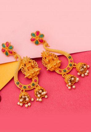 Stone Studded Jhumka Style Temple Earrings