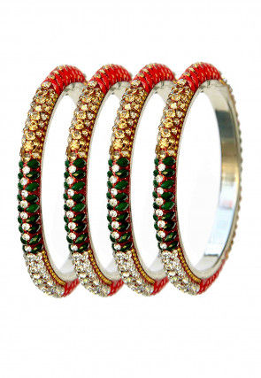 Stone Studded Lac Bangle Set