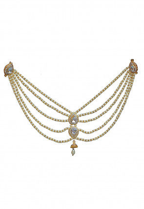 Stone Studded Layered Blouse Brooch