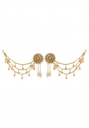 Stone Studded Layered Chain Earrings