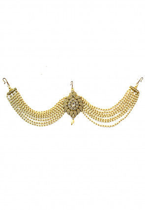Stone Studded Layered Mathapatti