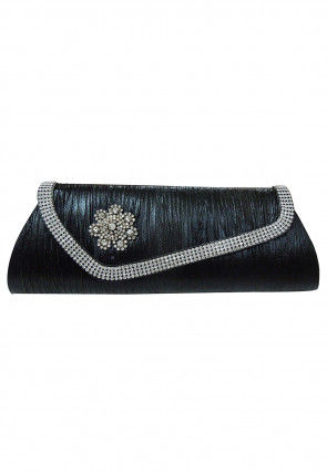 Stone Studded Leather Clutch Bag in Black