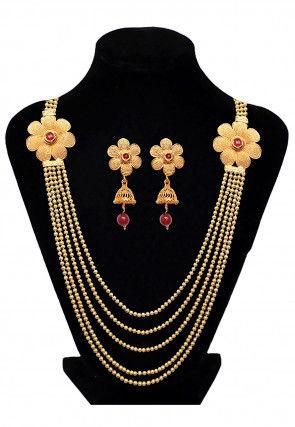 Stone Studded Long Layered Necklace Set