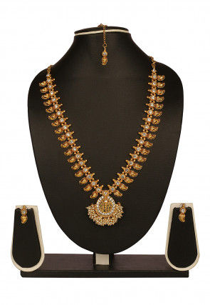 Stone Studded Long Necklace Set