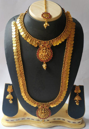 Stone Studded Long Temple Necklace Set