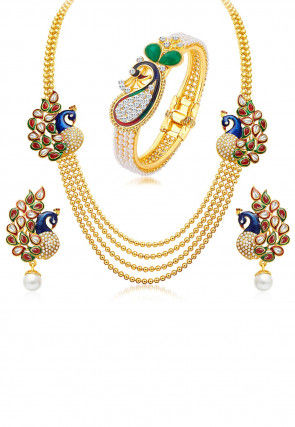 Stone Studded Meenakari Peacock Style Layered Necklace Set