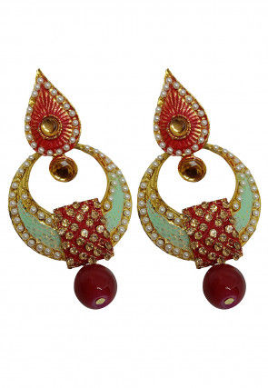 Stone Studded Mint Meena Chandbali Earrings