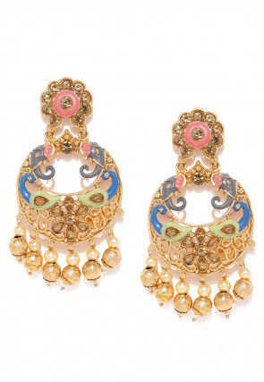 Stone Studded Mint Meena Peacock Style Chandbali Earrings
