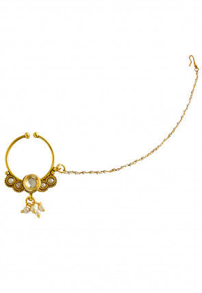 Stone Studded Nose Ring with Chain