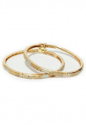 Stone Studded Openable Bangle Pair